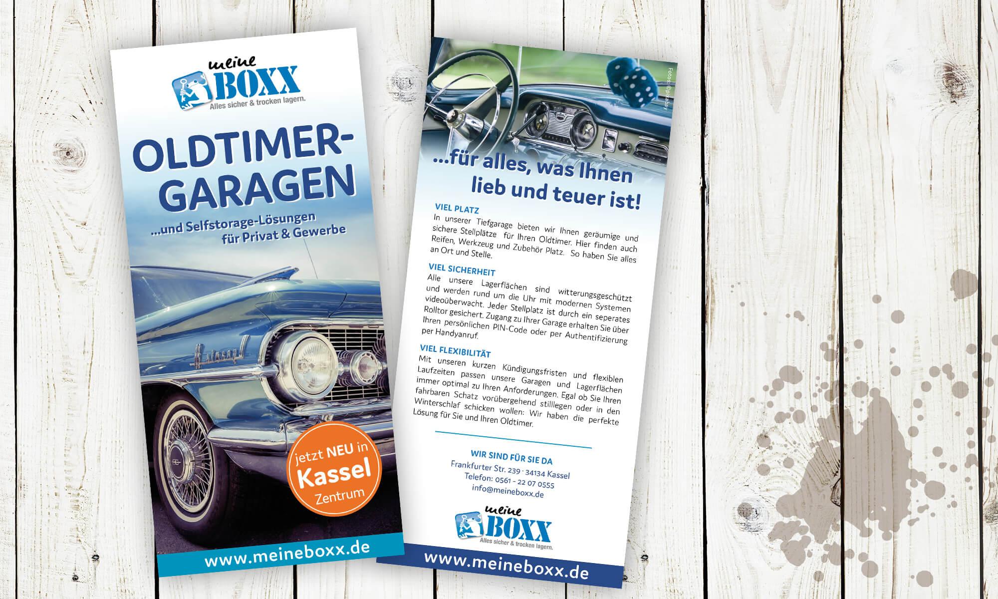 """Meine Boxx - Flyer """"Oldtimer-Garagen"""""""