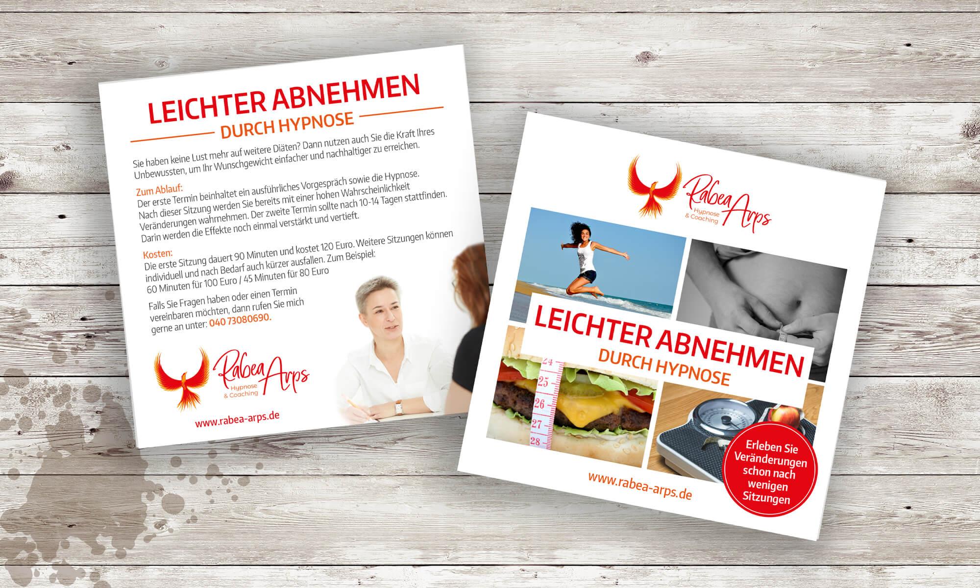 """Rabea Arps - Flyer """"Leichter abnehmen durch Hypnose"""""""